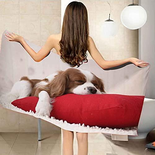 VJEJSE Asciugamano da bagno Teli Bagno Cucciolo cuscino rosso Red asciugamano da palestra, telo da spiaggia, in microfibra morbida ad asciugatura rapida, leggero Oversize Asciugamano Da Campeggio 100x