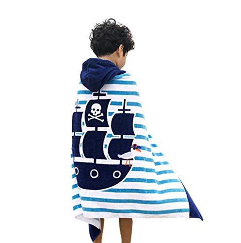 Comfysail 100% Baumwolle Kinder Kapuzen Poncho Handtuch Bade Badetuch für Jungen und Mädchen von 2-7 Jahren Strand 76 * 127cm (Boot)