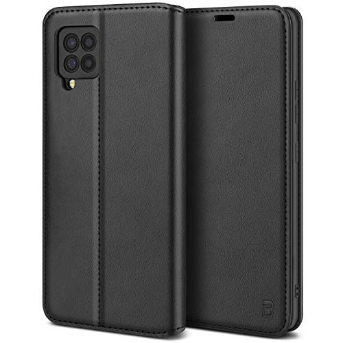 BEZ Handyhülle für Samsung A42 Hülle, Premium Tasche Kompatibel für Samsung Galaxy A42 5G, Tasche Hülle Schutzhüllen aus Klappetui mit Kreditkartenhaltern, Ständer, Magnetverschluss, Schwarz