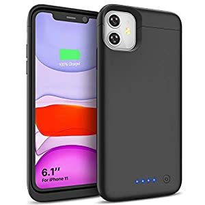 Battery Case For Iphone 11 6200mah Charging Charger Case Rechargeable Extended Battery Pack Compatible With Iphone 11 61 Inch Black