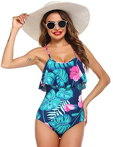 Ekouaer Womens Swimsuits Swimwear Monokini Vintage Ruffle One Piece Bathing Suits Blue Leaves S
