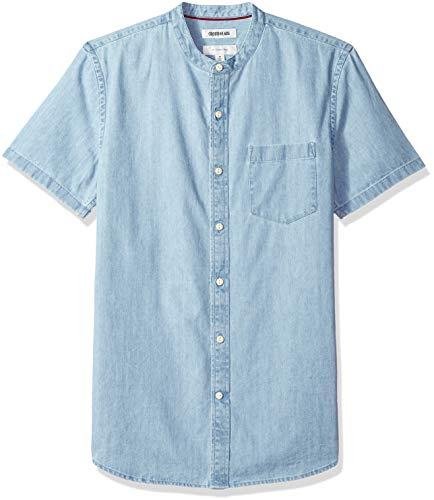 Marca Amazon – Goodthreads – Camisa vaquera con cuello en banda de manga corta y corte entallado para...