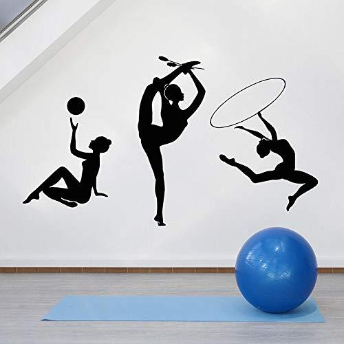 Gimnasta silueta tatuajes de pared deportes chica club deportivo gimnasia rítmica interior...