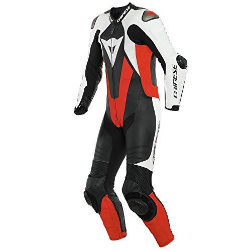 Dainese Laguna Seca 5 One Piece - Disfraz de moto perforado (piel, talla 5), color negro, blanco y rojo
