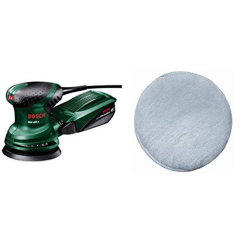 Bosch Exzenterschleifer PEX 220 A (mit Schleifblatt K 80, 220 Watt, in Karton) + Bosch DIY Lammwollhaube (für Exzenterschleifer verschiedene Materialien, Ø 125 mm, mit Klettsystem)