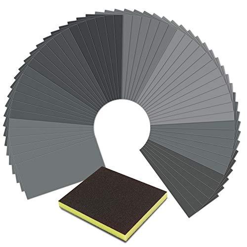 Sandpaper,Wet Dry Waterproof Sand Paper with Sanding Sponge, 90 Pcs 400 to 3000 Grit Sanding Paper 9x3.6 Inch for Automotive Polishing - Wood Furniture Finishing - Metal Sanding by SKOCHE (90 Pcs)