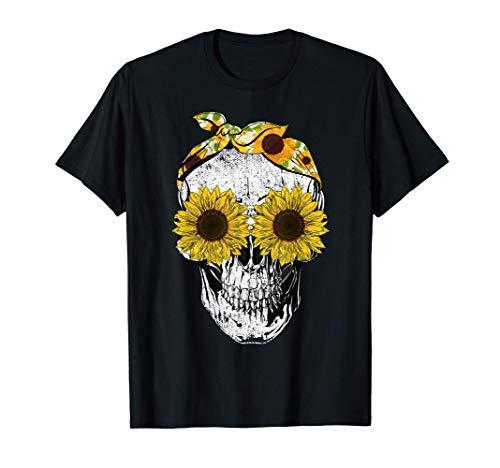 Funny Skull Sunflower Shirt Skeleton Bandana Sunflower Skull T-Shirt