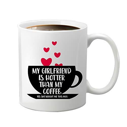 JioJio Chan My Girlfriend Is Hotter Than My Coffee, taza de café divertida, regalo de broma para novio y novia, aniversario, día de San Valentín, Halloween, Navidad, regalo de cumpleaños