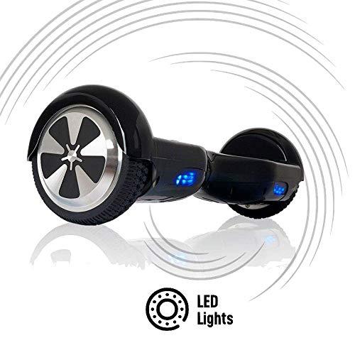 ACBK - Patinete Eléctrico Hover Autoequilibrio con Ruedas de 6.5' (Luces Led integradas) Velocidad máxima: 10-12 km/h - Autonomía 10-20 km (Negro)