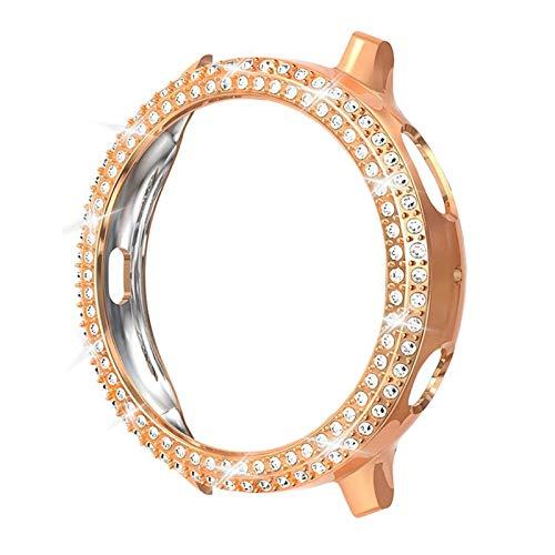 WSGGFA Moda de dos filas de diamante PC parachoques para Galaxy Watch Active 2 Case 40mm 44mm Active2 mujeres Bling Thin Cover Accesorios (color oro rosa, diámetro de la esfera: para Active2 44mm)