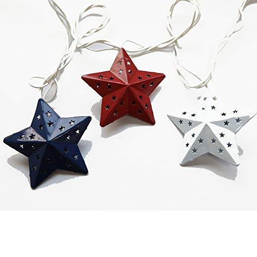 LIDORE Star String Light Plug in Decorative Lighting for Christmas Independence Day Fairy Lights for Bedroom Classroom with End-to-end Connector Blue White and Red