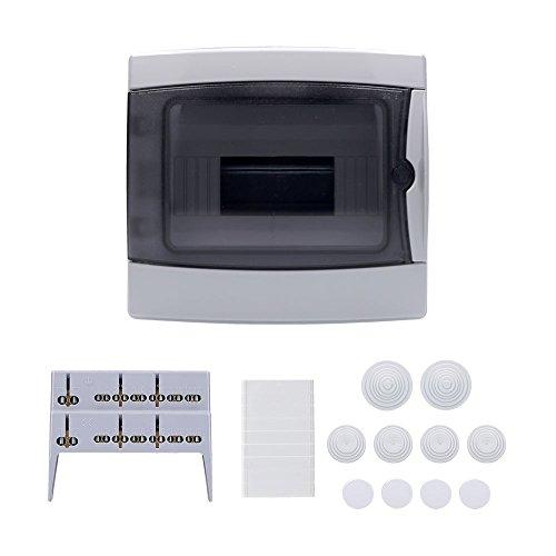 Aufputz Feuchtraum Verteiler 1-reihig IP65 8 Module Verteilerkasten Kleinverteiler Sicherungskasten, Tür transparent