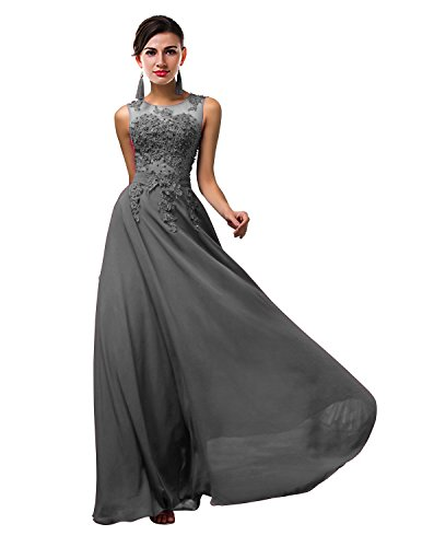 Thalia Women Long Sheer Neck Evening Bridesmaid Dresses Prom Gowns T004LF Gray US8