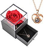 XJSGS Necklace rose gift box with 100 languages preserved, eternal real rose handmade for women's...