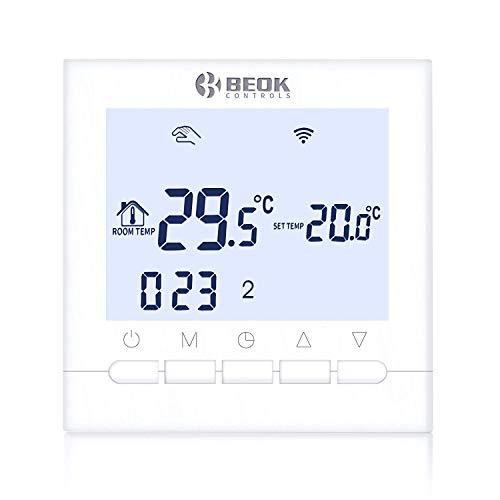 Beok BOT-313 WiFi-Thermostat Für Gaskessel, Programmierbar, LCD-Raumthermostat, Stromversorgung, Online-Steuerung über Smartphone, AC220V 3A, Weiß