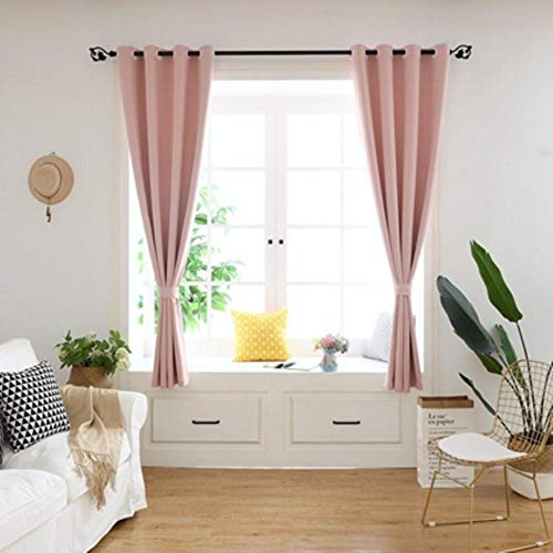 GHJYU Solid Short Curtains cortinas Kitchen Blackout Curtains For Living Room Bedroom Curtains tende Home Decoration Drapes,pink,W120x160cm 1PC