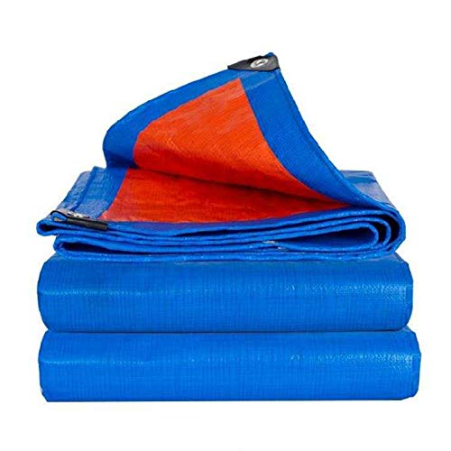 Outdoor Double-sided Waterproof Tarp Tarpaulin Sheet Thicken Rain Cloth Shed Dust-proof For Truck Camping Construction Site Awnings Cover, Customizable ( Color : Blue , Size : 4x6m )