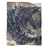 DRAGON VINES Manta de animación de cine Godzilla Vs Kong suave y cómoda manta de lana ligera de lana apta para viajes y hogar playa de 130 x 180 cm, manta de fuego y extintor