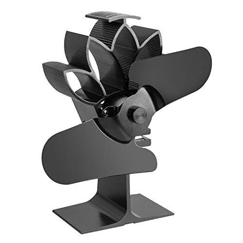 Shumo Schwarzer 4 FlüGeliger, W?Rmebetriebener Holz OfenlüFter mit Temperatur Anzeige Besonders Leiser Kamin Holz OfenlüFter für eine Effiziente W?Rme Verteilung