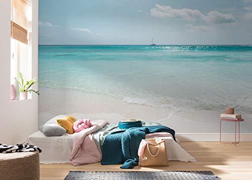Komar Vlies Fototapete - Azur Ocean - Größe 400 x 250 cm (Breite x Höhe) - Wand Tapete Wohnzimmer Schlafzimmer Büro Flur Dekoration Wandbild - PSH097-VD4