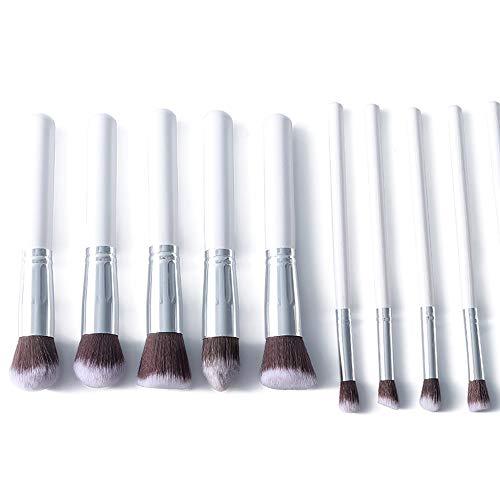 Brosses 10 pcs synthétiques Bambou Blush Base Ombre à paupières Eye-Liner Bronzant Maquillage pinceaux Ensembles Maquillage pour Les Femmes (Color : Blanc, Size : Libre)