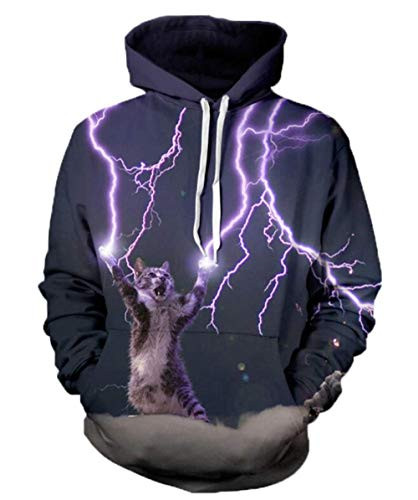 binglinshang 2020 Fashion Thunder Cat Sweatshirt Cat Lightning Thunder 3D Herren Hoodie Sweatshirts mit Hoodies Casual Sweats, L.