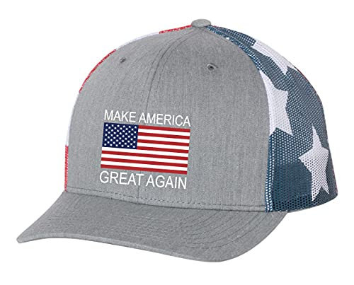 Chapéu com bandeira americana Donald Trump Make America Great Again, Cinza/malha da bandeira americana, One Size-X-Large