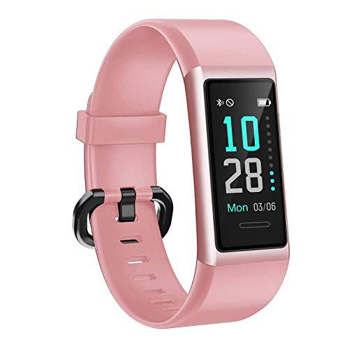 AIKELA 【2020 Neuestes Modell Fitness Armband, Smartwatch IP68 Wasserdicht Fitness Tracker mit Pulsmesser Farbbildschirm Aktivitätstracker Schrittzähler Fitness Uhr für Damen Herren iOS Android, Rosa