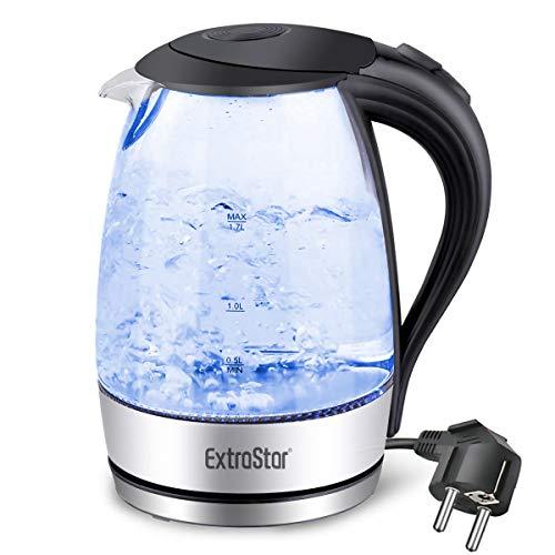 EXTRASTAR Elektrischer Wasserkocher 1,7L Glas Wasserkocher mit blauer LED-Anzeige Wasserkocher BPA-frei mit automatischer Abschaltung und Trockenkochschutz