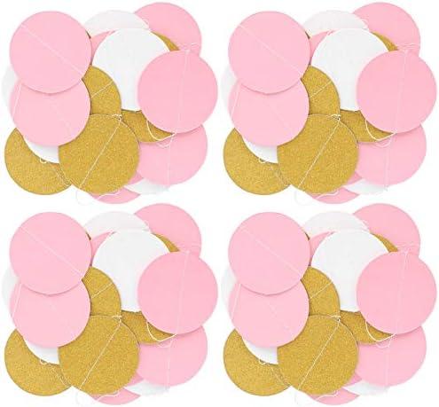 Papieren slinger slinger Sterke hangende papieren slinger 4 stuks voor bruiloften Verjaardagen Decoratie Jubileumfeestdecoratie voor ValentijnsdagRound shape