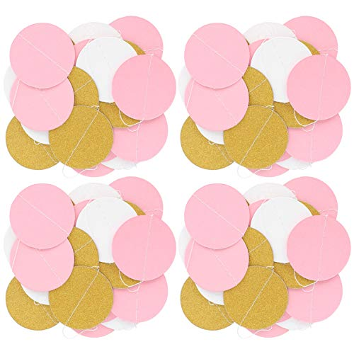 Guirnalda de papel de 4 piezas, decoración de guirnalda de papel, guirnalda de papel fuerte para colgar, para bodas, aniversario, decoración de fiestas,(Round shape)