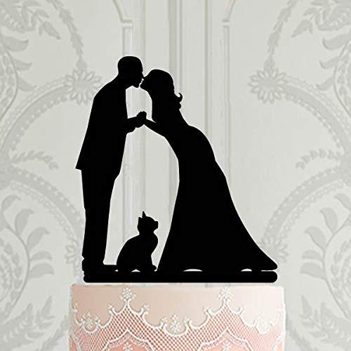 Decoración personalizada para tarta de boda con diseño de gato cortada con láser para decoración de tartas de boda o fiesta