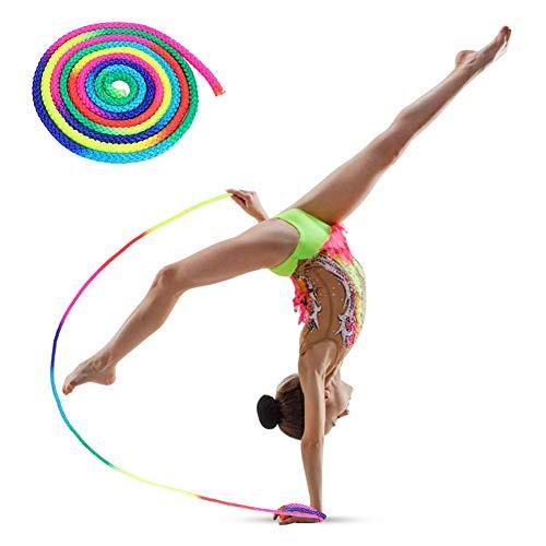 Springseil Rainbow Color Rhythmische Gymnastik Buntes Seil für Den Offiziellen Rhythmic Gymnastics Rope Competition, Gymnastikseil Exercise & Fitness Aerobic Kunstseil Sporttraining Springseil