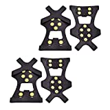2 Pair Ice Snow Grips, Traction Cleats Ice Cleat Snow Grippers Non-Slip Over Shoe Rubber Spikes Crampons Anti...