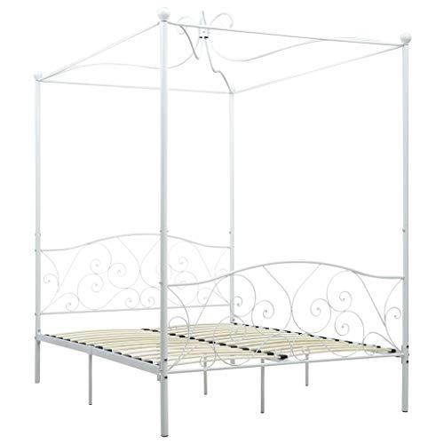 Festnight Himmelbett-Gestell Doppelbett Metallbett Bettrahmen Lattenrost Schlafzimmerbett Schlafzimmermöbel Weiß Metall 120 x 200 cm