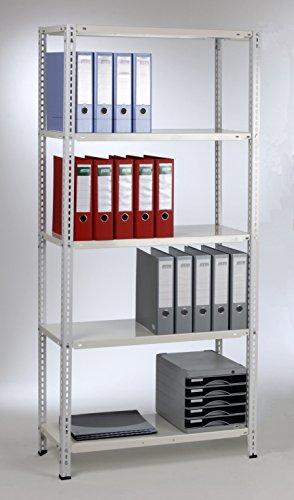 Grundregal 180x80x35 cm, 5 Böden, 60kg, weiß, Marke: Szagato (Kellerregal Lagerregal Büroregal Schraubregal)