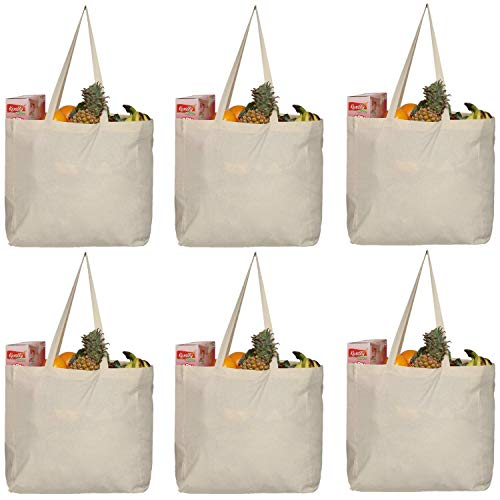 Greenmile 6 Pack Reusable Grocery Bags with Extra Strong Handles | Holds 40 lbs | Large Eco Cotton Canvas Shopping Totes | Heavy Duty, Eco Friendly, Foldable Bulk Market Bag (14x14x7.5') Pack of 6