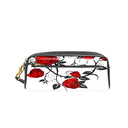 Estuche para lápices con diseño abstracto de rosas y espinas de piel sintética con doble cremallera, bolsa organizada de gran capacidad, bolsa de maquillaje para adolescentes, niñas, niños y hombres