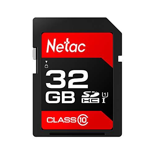 KKmoon Netac P600 SD Card SDHC/SDXC UHS-I Memory Card Class 10 U1 Alta Velocidade de 80 MB/s 32GB para SLR Camera & DV (Tecnologia Vermelha)