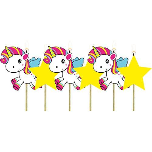 NET TOYS 6 Velas para Tarta Unicornio | Aprox. 6 cm de Altura | Magnifica decoración para Fiesta Velas en Forma de Unicornio Fiestas de cumpleaños Infantiles y Fiestas Infantiles