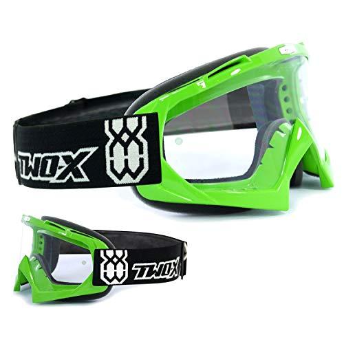 TWO-X Race Crossbrille MX Brille grün Motocross Enduro Klarglas Motorradbrille Anti Scratch MX Schutzbrille