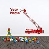 sanzangtang Adhesivo de Pared para camión de Bomberos Personalizado Nombre Personalizado calcomanía de Pared para habitación de niños 57x44cm tamaños