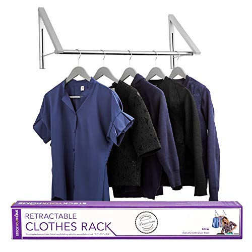 Stock Your Home Retractable Clothes Rack  Wall Mounted Folding Clothes Hanger Drying Rack for Laundry Room Closet Storage Organization Aluminum Easy Installation 2 Racks with Rod Silver