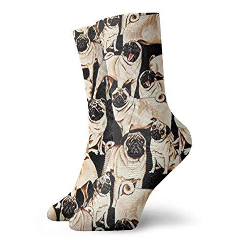Unisex-Socken mit Mops-Motiv, atmungsaktiv, für Laufen, Wandern, Wochenende, Sport, Sportsocken, kurze Crew-Socken, 30 cm