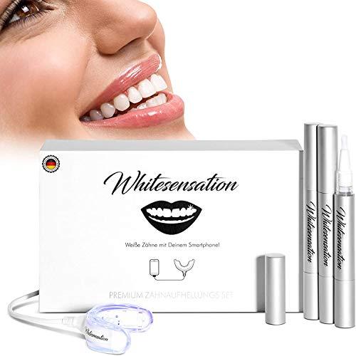 Whitesensation blanqueador dental - Aparato con lápices de gel y férula LED - Kit de blanqueamiento con USB para cualquier móvil - Kit de blanqueamiento dental vegano