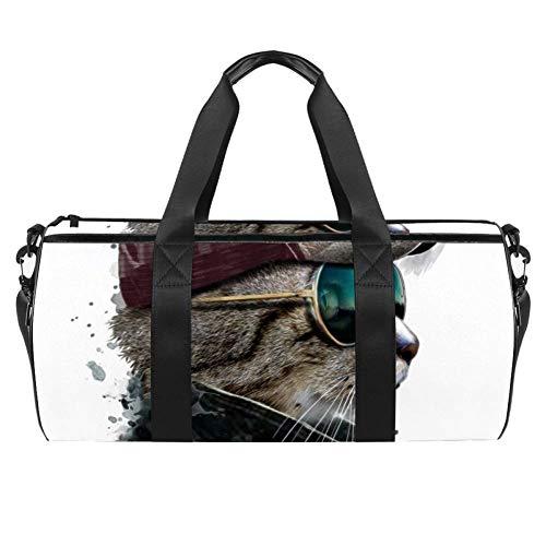 TIZORAX Coole Katze mit Sonnenbrille Hut Gym Duffle Bag Drum Tote Fitness Reisetasche Dachgepäcktasche