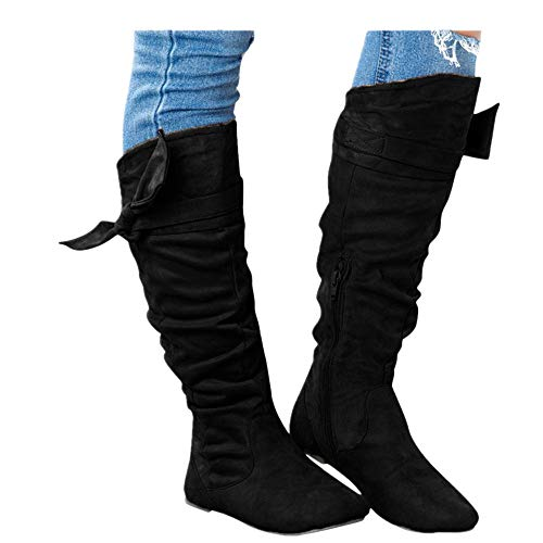 Women's Knee High Boots - Casual Beautiful Knotted Knee-high Long Boots Flat Fall Winter Shoes (US:8.0, Black)