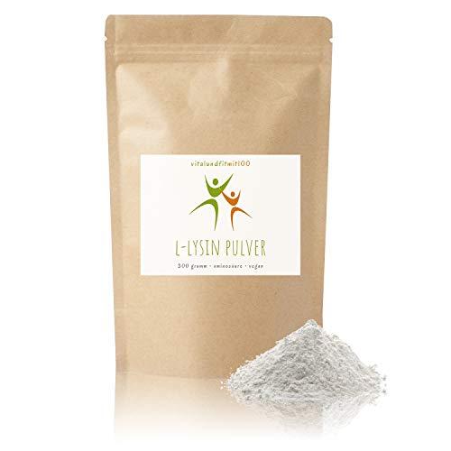 L-Lysin Pulver - 300 g - essentielle Aminosäure - produktionsfreische Ware - Auslese-Qualität - 100% vegan und absolut rein - glutenfrei, laktosefrei - OHNE Hilfs- u. Zusatzstoffe