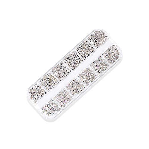 1440 Stücke Nail Art Strass 3D Mixed Glitter Kristalle Runde Glas Charme Edelsteine Steine DIY Nagel Dekoration mit Speicherorganisator Box (#1)