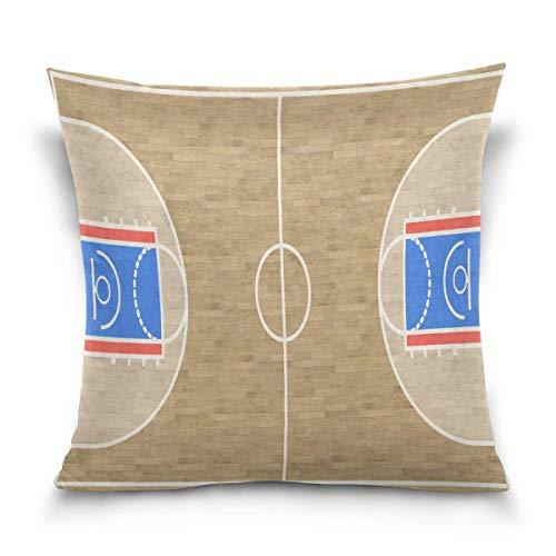 Joe-shop Throw Pillow Case Funda de cojín Decorativa Cancha de Baloncesto Cuadrada Sport Vintage Funda de Almohada para sofá Cama (18x18 Pulgadas) Lados Gemelos